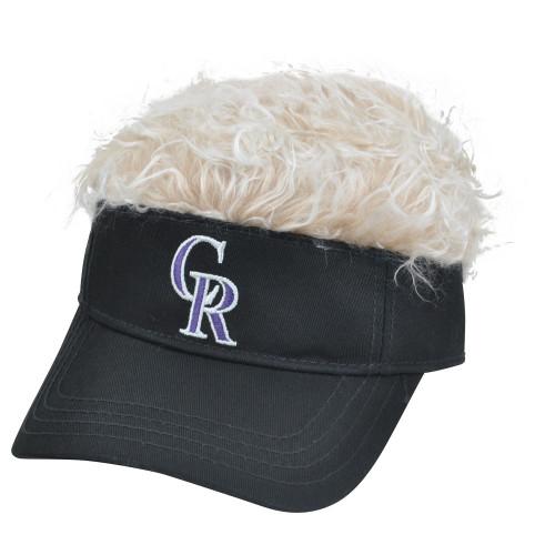 MLB Colorado Rockies Creed Flair Beige Hair Visor Adjustable Fan Velcro Hat Cap