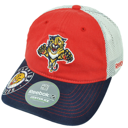 NHL Reebok Florida Panthers ES18 Flex Fit Large XLarge Mesh Relaxed Hat Cap Red