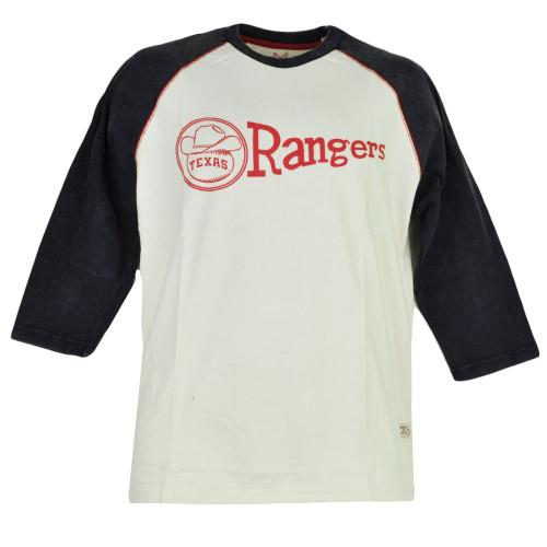 MLB Texas Rangers Mid Sleeve Blue Cream Crew Neck Mens Tshirt Tee Baseball Sport