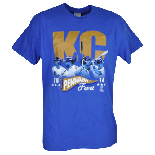 MLB Kansas City Royals KC Pennant Fever Tshirt Tee Mens Adult Short Sleeve Blue