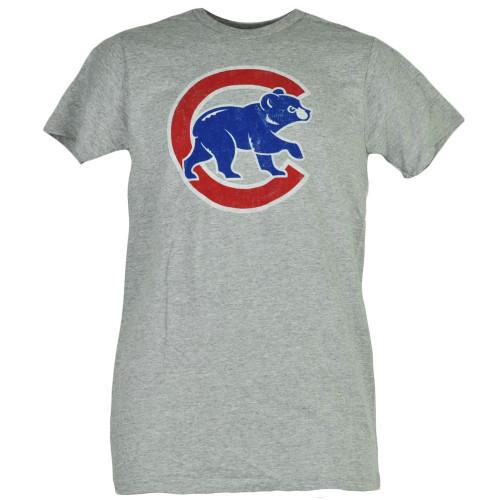 MLB Chicago Cubs Gray Tshirt Tee Men Short Sleeve Crew Neck Distressed Sports