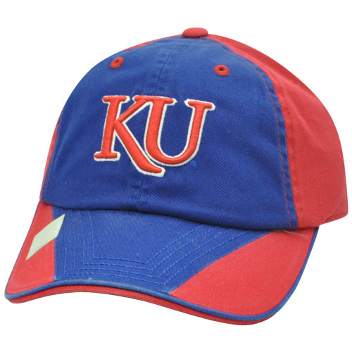 new style 7d4c3 60c71 NCAA Kansas Jayhawks Garment Washed Two Tone Slouch Flip Blue Sun Buckle  Hat Cap