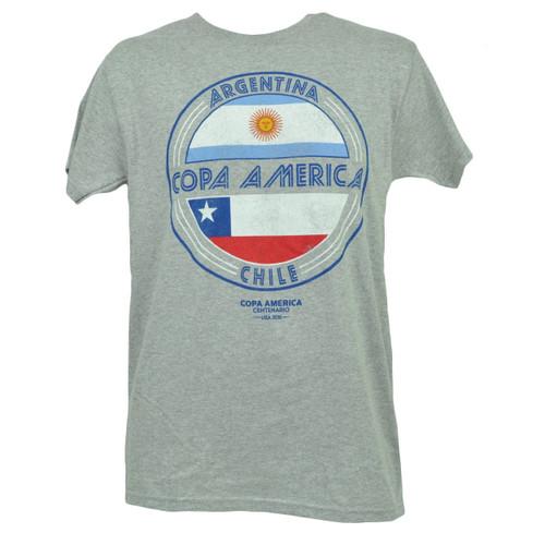 Copa America Centenario USA 2016 Argentina Chile Tshirt Tee Soccer Mens Gray