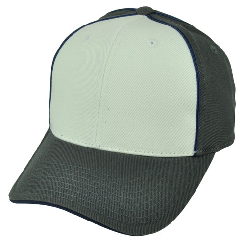 American Needle Gray White 2Tone Relaxed Hat Cap Blank Plain Solid Color Velcro