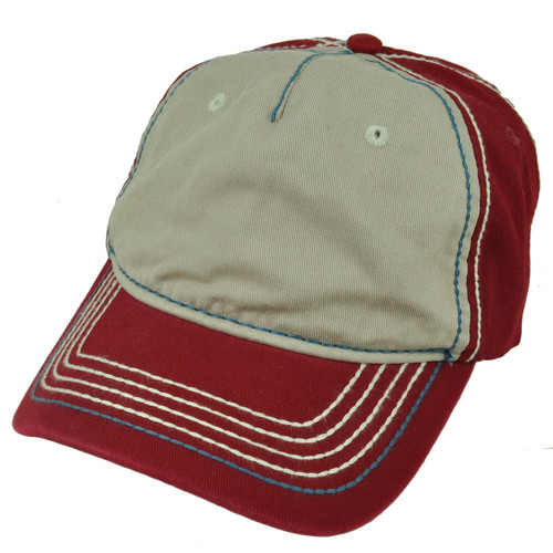 American Needle Red Beige Relaxed Hat Cap Blank Plain Solid Color Sun Buckle