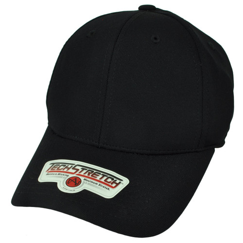 American Needle Black Flex Fit One Size Hat Cap Blank Plain Solid Color Stretch