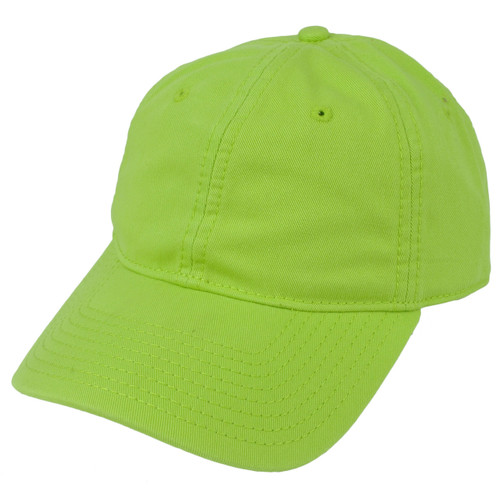 American Needle Neon Green Relaxed Hat Cap Blank Plain Solid Color Sun Buckle
