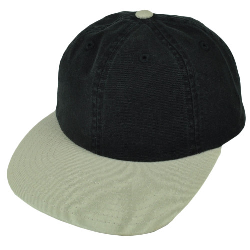 American Needle Black Beige Flat Bill Sun Buckle Relaxed Slouch Hat Cap Washed