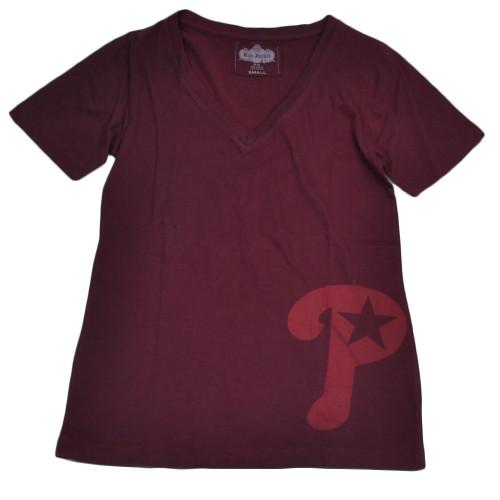 MLB Philadelphia Phillies Womens Small V Neck Tshirt Tee Burgundy Short Sleeves