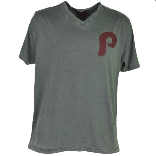 MLB Philadelphia Phillies Mens Medium V Neck Gray Tshirt Tee Ripped Distressed