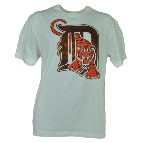 MLB Detroit Tigers White Medium Short Sleeve Mens Adult Tshirt Tee Distressed