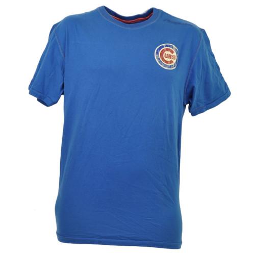 MLB Chicago Cubs Medium Blue Tshirt Tee Mens Short Sleeve Crew Neck Red Jacket