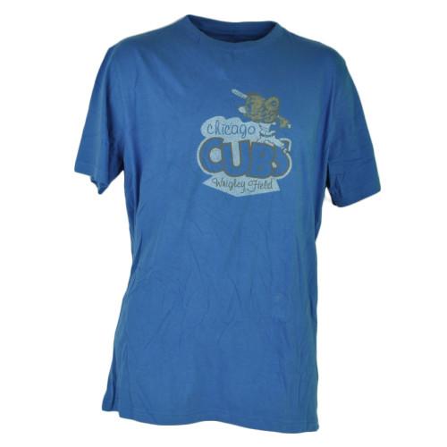 MLB Chicago Cubs Distressed Medium Blue Crew Neck Tshirt Tee Short Sleeve Cotton