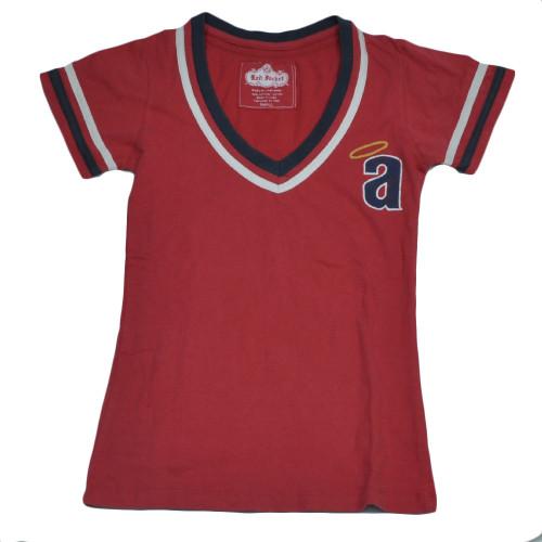 MLB Los Angeles Angels V Neck Small Tshirt Tee Womens Ladies Short Sleeve Red
