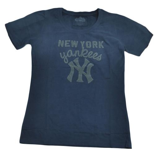 MLB New York Yankees Mens Small Blue Short Sleeve Crew Neck Tshirt Tee Sports