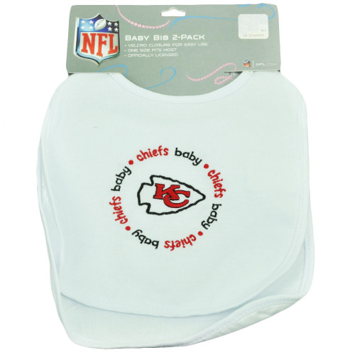 NFL Kansas City Chiefs 2 Pack Baby Fanatic Bib Infant White Gift Easy Clean Up