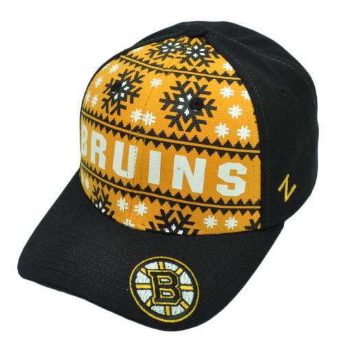 NHL Zephyr Boston Bruins Reindeer Snapback Black Yellow Hat Cap Snow Flake Sport