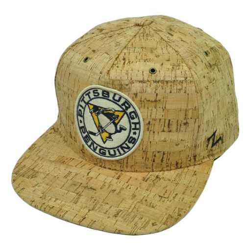 NHL Zephyr Pittsburgh Penguins Tan Cork Flat Bill Snapback Hat Cap Sports Beige