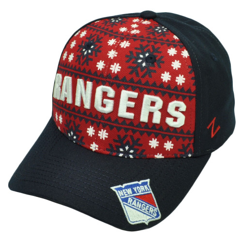 NHL Zephyr New York Rangers Reindeer Snapback Navy Blue Red Hat Cap Snow Flake