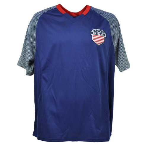 USA United State Jersey Tshirt Tee Blue Soccer Futbol Mens Adult Dotted Sleeve