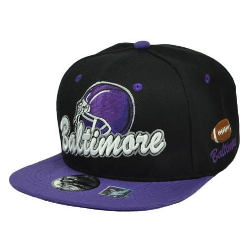 Baltimore Maryland City Town State Helmet Black Purple Snapback Flat Bill Hat