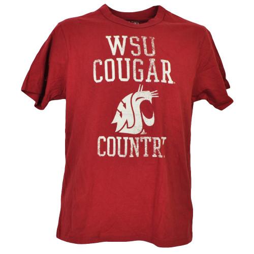 NCAA Washington State Cougars WSU Burgundy Tshirt Tee Mens Cougar Country Nation