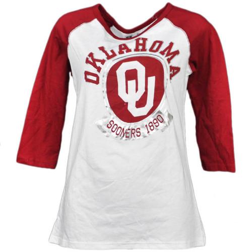 NCAA Oklahoma Sooners 1860 Foil Logo Mid Sleeve Tshirt Tee Womens White Burgundy