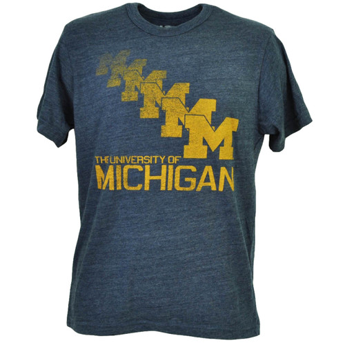 NCAA Michigan Wolverines Repeat Logo Mens Tshirt Tee Navy Blue Crew Neck Sports