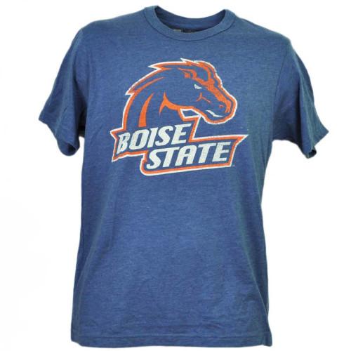 NCAA Boise State Broncos Distressed Logo Short Sleeve Mens Adult Blue Tshirt Tee