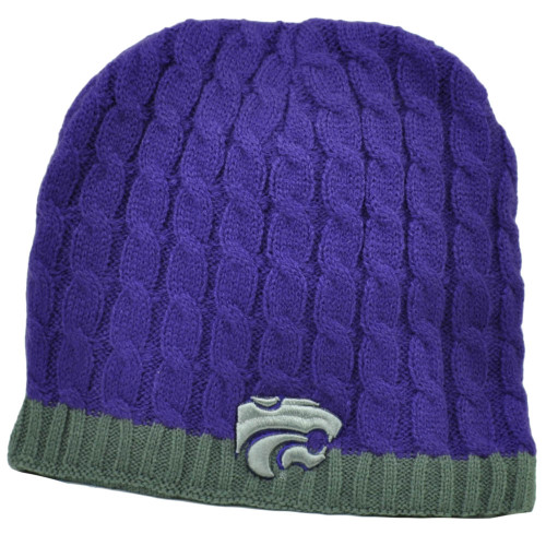 37a2c4e394f0a NCAA Kansas State Wildcats K State Purple Crochet Knit Beanie Cuffless  Winter