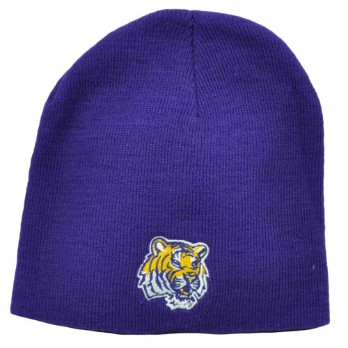 df82b5fd33f20 NCAA Louisiana State Tigers LSU Purple Knit Beanie Cuffless Hat Winter  Skully