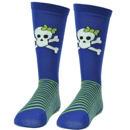 Pink Cookie Design Skull Royal Blue Green Striped Long Socks Size 6-12 Womens