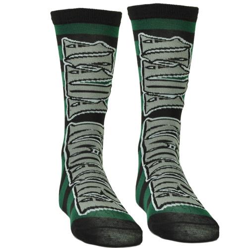 Harry Potter Avada Kedavra Striped Killing Curse Long Socks Size 6 -12 Green Blk