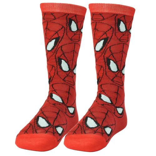Marvel Spiderman Long Sock Size 6-12 Super Hero Comic Book Cartoon Red Movie