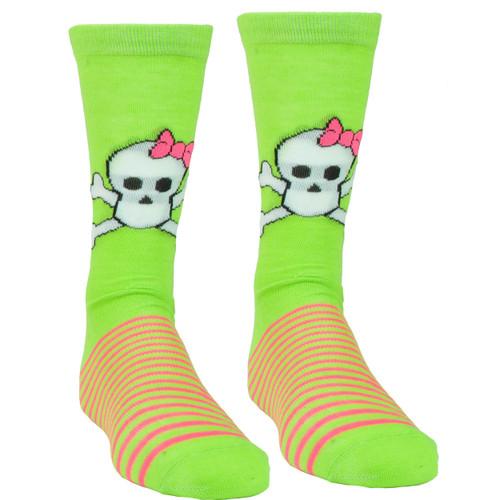 Pink Cookie Design Skull Neon Green Pink Sock Long Socks Striped Size 6-12 Women