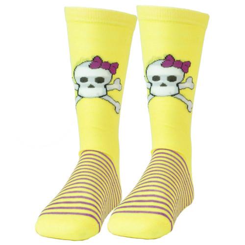 Pink Cookie Design Skull Graphic Yellow Purple Striped Long Socks Size 6-12 Women