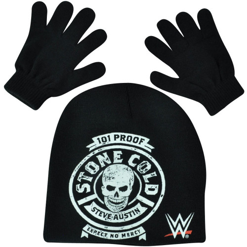 WWE Stone Cold Beanie Knit Glove Set Wrestler Wrestling Entertainment TV Show