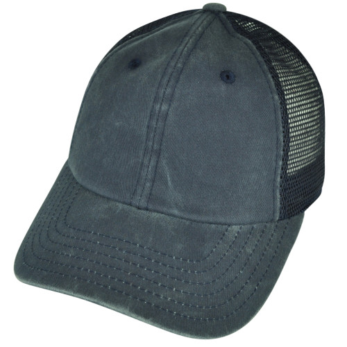 American Needle Blank Faded Solid Blue Mesh Back Plain Sun Buckle Curved Hat Cap