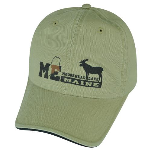 American Needle Moosehead Lake Maine State USA City Beige Hat Cap Clip Buckle