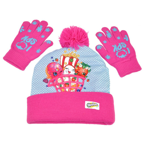 ABG Shopkins Sublimated Girls Kids 2 Piece Set Beanie Knit Toque Gloves One Size