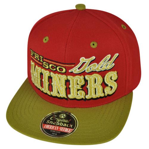 American Needle San Francisco Miners Gold Snapback Flat Bill Hat Cap City State