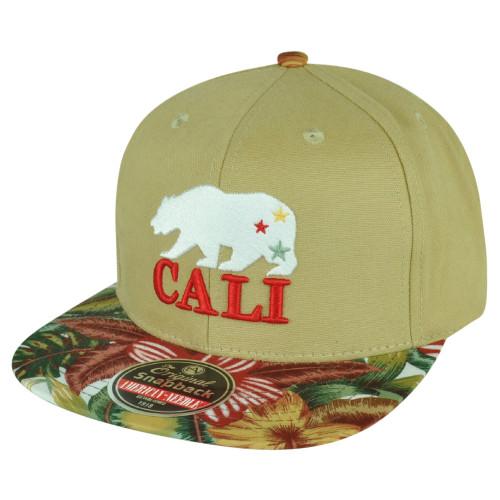 American Needle Cali Bear California Republic Flag Tropical Snapback Hat Cap