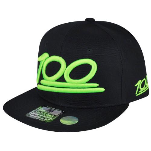100 One Hundred Emoji Emoticons Text Symbol Snapback Hat Cap Flat Bill Neon Green