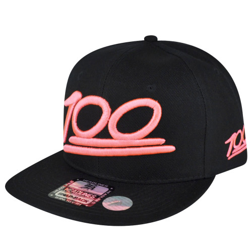 100 One Hundred Emoji Emoticons Text Symbol Snapback Hat Cap Neon Pink Flat Bill