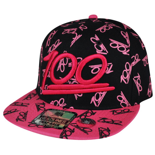 100 One Hundred Emoji Emoticons Text Symbol Snapback Hat Cap Pink All Over Cien