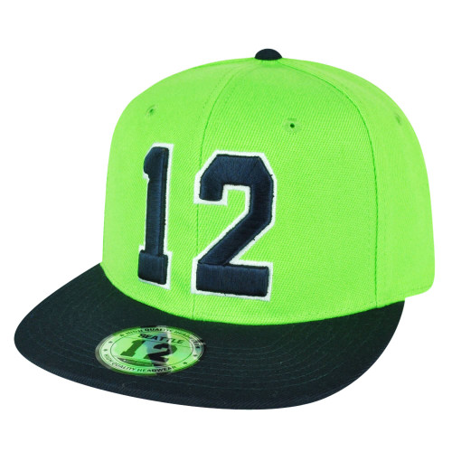aa3590a22298f Action Green Navy Blue 12 Player Flat Bill Snapback Hat Cap Seattle Fan  2Tone ...