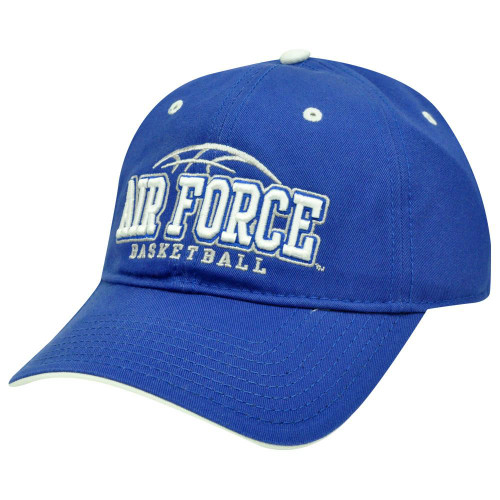 HAT CAP NCAA AIR FORCE FALCONS BASKETBALL BLUE WHITE GARMENT WASH GAME LICENSED