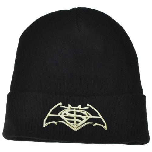 Batman Vs Superman Dawn of Justice Super Hero Movie Metal Logo Beanie Knit Cuffed