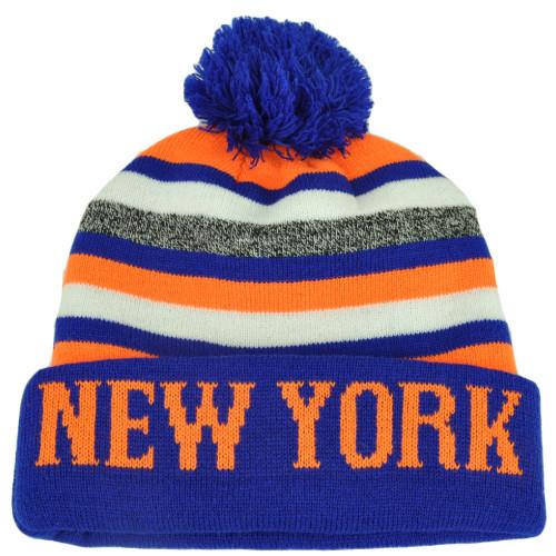 3da93777d6f86 New York Pom Pom Cuffed Toque Blue Orange City State Town Beanie Knit  Striped