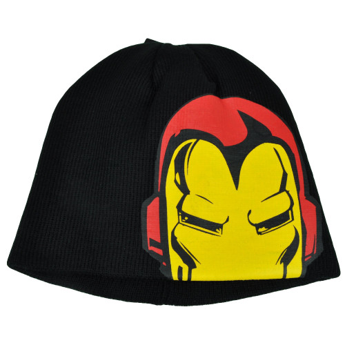 Iron Man Marvel Super Hero Cuffless Knit Beanie Toque Black Cartoon Comic Books